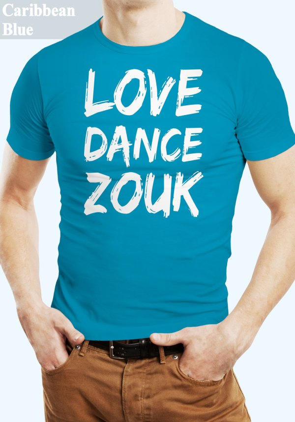 """Man wearing Zouk T-shirt decorated with unique """"Love Dance Zouk"""" design in Caribbean blue crew neck style"""