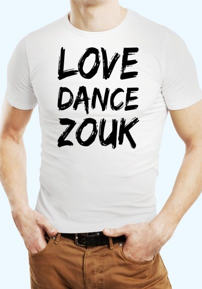 "Man wearing Zouk T-shirt decorated with unique ""Love Dance Zouk"" design in white crew neck style"