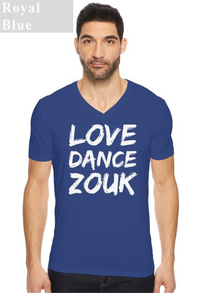 "Man wearing Zouk T-shirt decorated with unique ""Love Dance Zouk"" design in blue v-neck style"