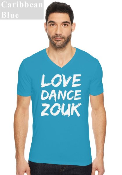 "Man wearing Zouk T-shirt decorated with unique ""Love Dance Zouk"" design in Caribbean blue v-neck style"