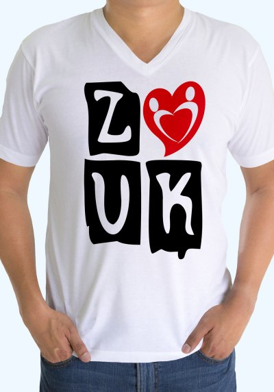 "Man wearing Zouk T-shirt decorated with ""deeply connected Zouk Dancers in a unique heart design (white, v-neck style)"