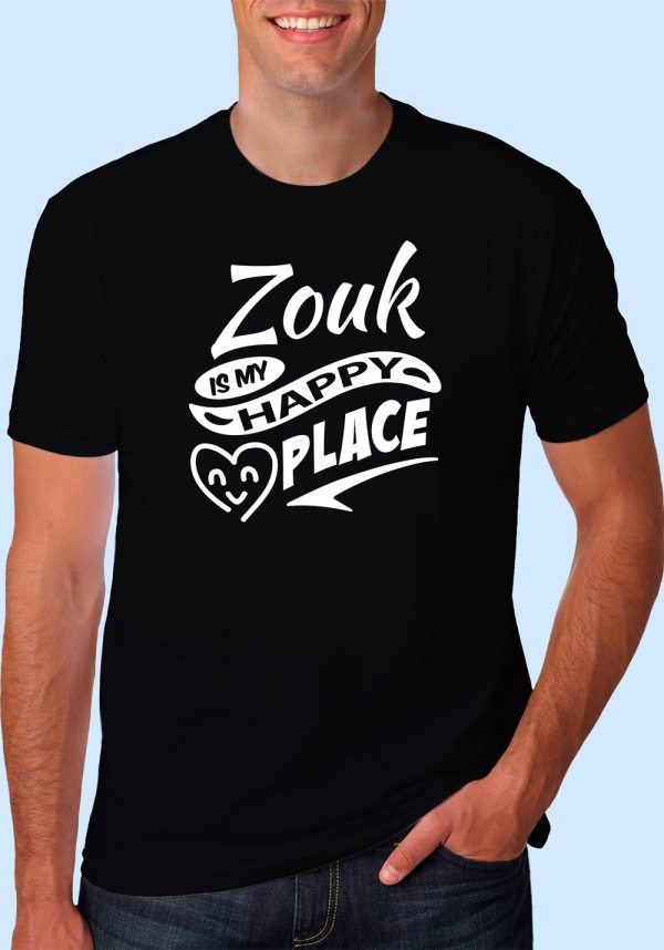"Man wearing Zouk t-shirt decorated with ""Zouk is my HAPPY place"" (black, crew neck style)"