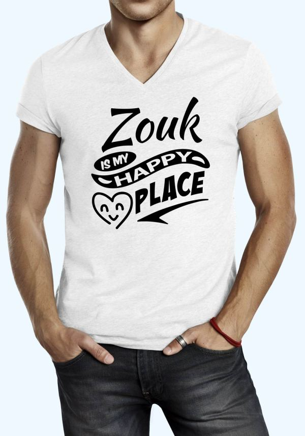 """Man wearing Zouk t-shirt decorated with """"Zouk is my HAPPY place"""" (white, v-neck style)"""