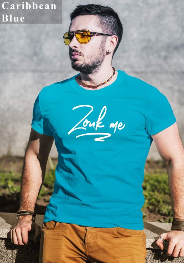 "Man wearing Zouk T-shirt decorated with unique ""Zouk me"" design (caribbean blue crew neck style)"