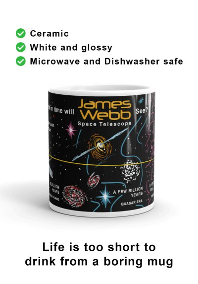 Front view of unique James Webb Space Telescope mug design to commemorate the launch of James Webb and celebrate it as the most powerful space telescope humanity has ever built.