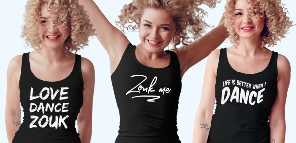 Three women wearing Zouk t-shirts you're going to wear again and again. (tank top version)