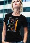 "Woman wearing unique ""James Webb Space Telescope"" t-shirt in black crew neck style"