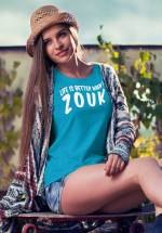 """Woman wearing Zouk T-shirt decorated with unique """"Life is better when I Zouk"""" design in blue crew neck style"""