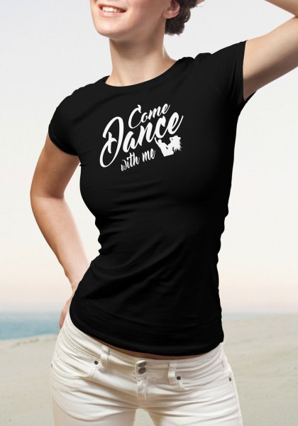 "Woman wearing Zouk T-shirt decorated with unique ""Come Dance with me"" design in black crew neck style"