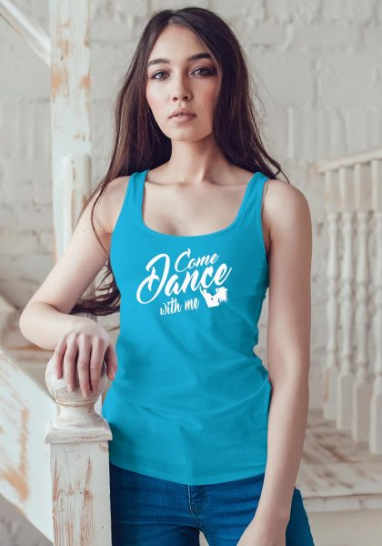 "Woman wearing Zouk t-shirt decorated with unique ""Come Dance with me"" design in blue tank top style"