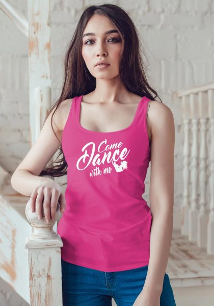 "Woman wearing Zouk t-shirt decorated with unique ""Come Dance with me"" design in pink tank top style"