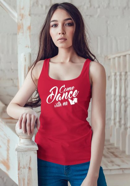 "Woman wearing Zouk t-shirt decorated with unique ""Come Dance with me"" design in red tank top style"