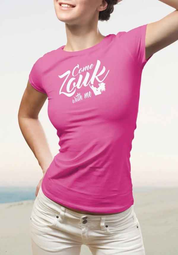 """Woman wearing Zouk T-shirt decorated with unique """"Come Zouk with me"""" design in pink crew neck style"""