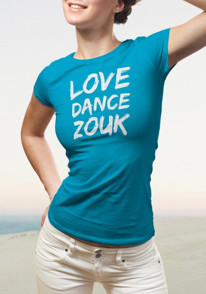 "Woman wearing Zouk T-shirt decorated with unique ""Love Dance Zouk"" design in blue crew neck style"
