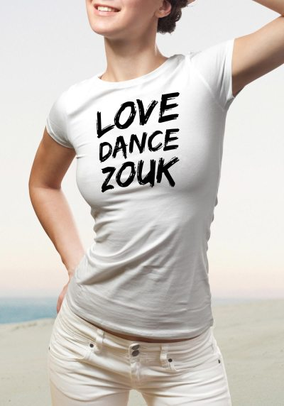 "Woman wearing Zouk T-shirt decorated with unique ""Love Dance Zouk"" design in white crew neck style"