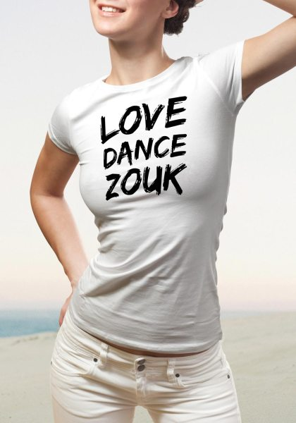 """Woman wearing Zouk T-shirt decorated with unique """"Love Dance Zouk"""" design in white crew neck style"""