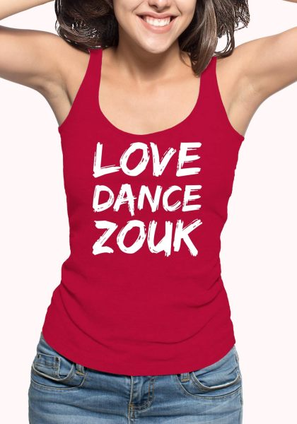 "Woman wearing Zouk T-shirt decorated with unique ""Love Dance Zouk"" design in red tank top style"