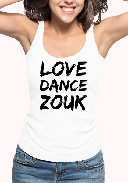 "Woman wearing Zouk T-shirt decorated with unique ""Love Dance Zouk"" design in white tank top style"