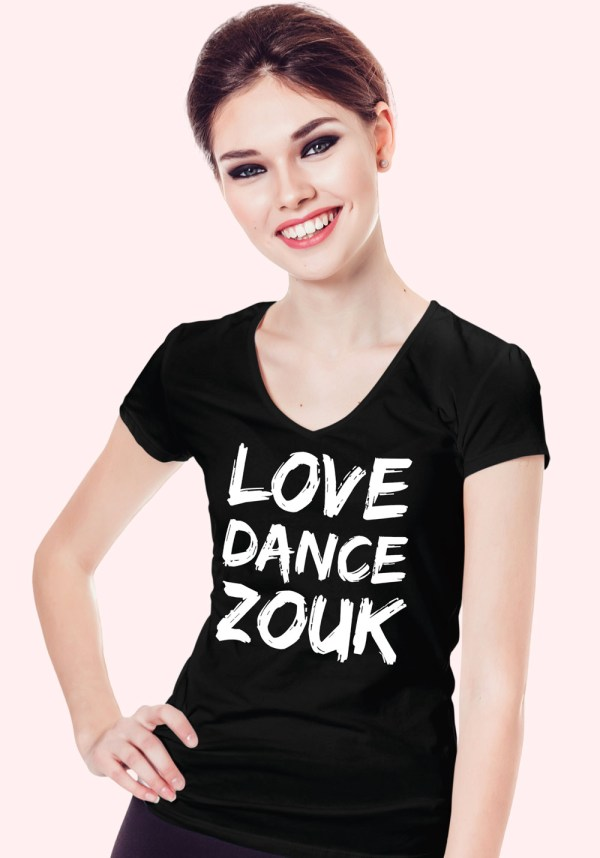 "Woman wearing Zouk T-shirt decorated with unique ""Love Dance Zouk"" design in black v-neck style"