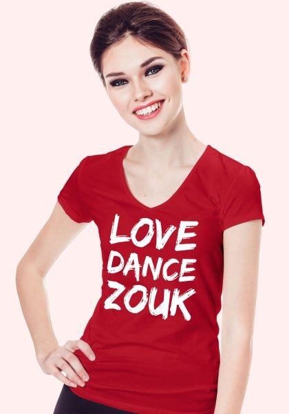"Woman wearing Zouk T-shirt decorated with unique ""Love Dance Zouk"" design in red v-neck style"