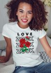 Woman wearing Zouk T-shirt decorated with unique Zouk Bouquet design (white crew neck style)