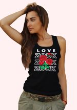 Woman wearing Zouk T-shirt decorated with unique Zouk Bouquet design (black tank top style)
