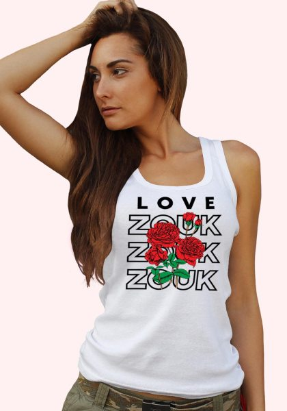 Woman wearing Zouk T-shirt decorated with unique Zouk Bouquet design (white tank top style) close up view