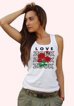 Woman wearing Zouk T-shirt decorated with unique Zouk Bouquet design (white tank top style)