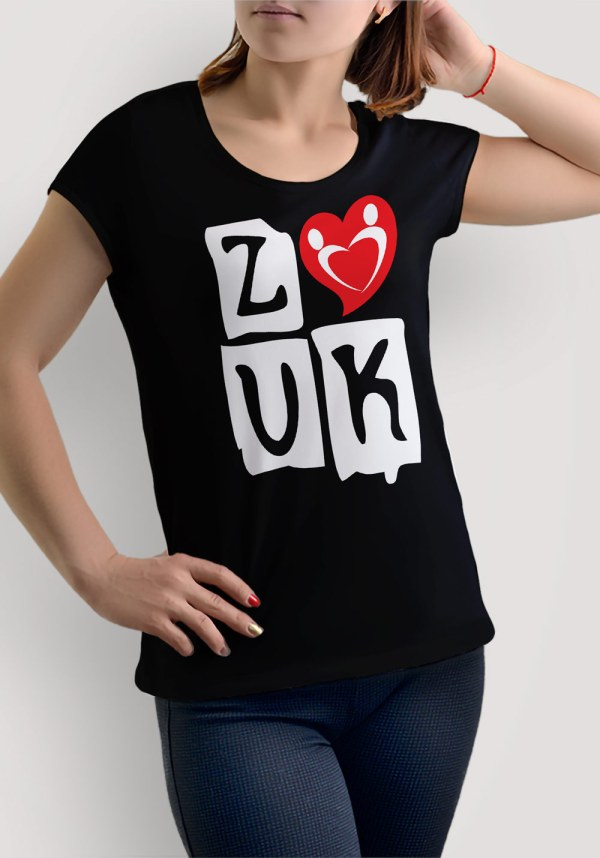 "Woman wearing Zouk T-shirt decorated with ""deeply connected Zouk Dancers in a unique heart design (black, crew neck style)"