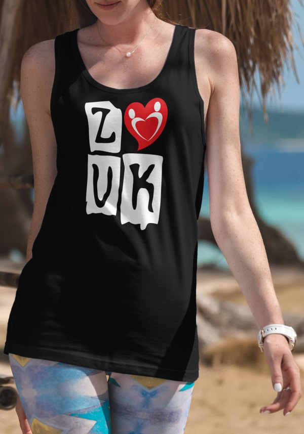 "Woman wearing Zouk T-shirt decorated with ""deeply connected Zouk Dancers in a unique heart design (black, tank top style)"