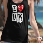 """Woman wearing Zouk T-shirt decorated with """"deeply connected Zouk Dancers in a unique heart design (black, tank top style)"""