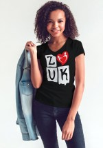 "Woman wearing Zouk T-shirt decorated with ""deeply connected Zouk Dancers in a unique heart design (black, v-neck style)"