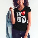 """Woman wearing Zouk T-shirt decorated with """"deeply connected Zouk Dancers in a unique heart design (black, v-neck style)"""