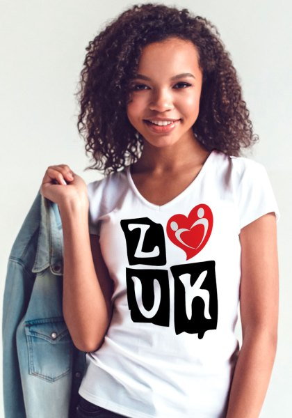 "Woman wearing Zouk T-shirt decorated with ""deeply connected Zouk Dancers in a unique heart design (white, v-neck style) close-up"