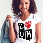 """Woman wearing Zouk T-shirt decorated with """"deeply connected Zouk Dancers in a unique heart design (white, v-neck style) close-up"""