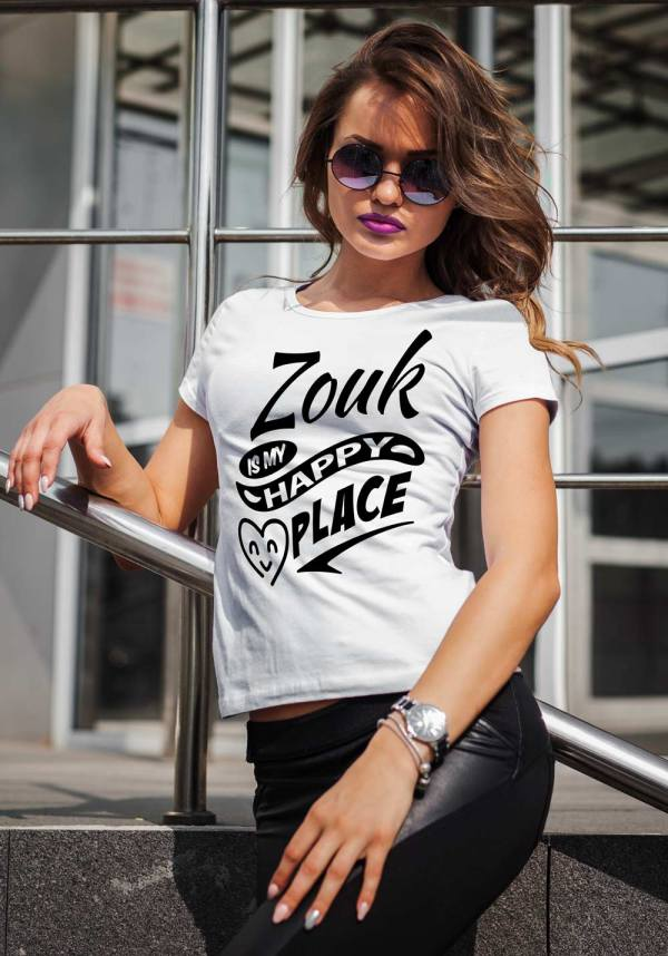 "Woman wearing Zouk T-shirt decorated with unique ""Zouk is my happy place"" design (white crew neck style)"