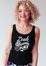 "Woman wearing Zouk T-shirt decorated with unique ""Zouk is my happy place"" design (black tank top style)"