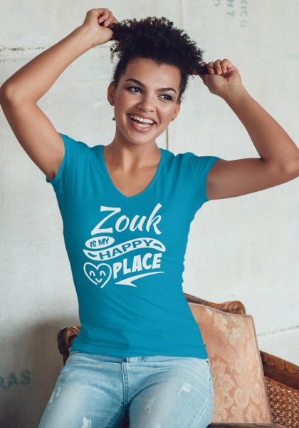 "Woman wearing Zouk T-shirt decorated with unique ""Zouk is my happy place"" design (blue v-neck style)"