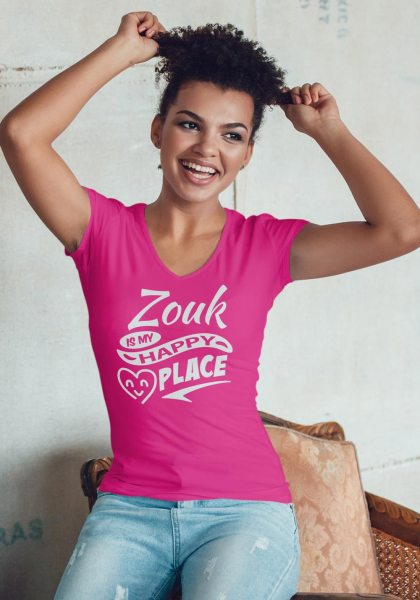 """Woman wearing Zouk T-shirt decorated with unique """"Zouk is my happy place"""" design (pink v-neck style)"""