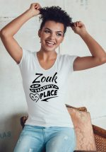 """Woman wearing Zouk T-shirt decorated with unique """"Zouk is my happy place"""" design (white v-neck style)"""