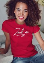 "Woman wearing Zouk T-shirt decorated with unique ""Zouk me"" design (red crew neck style)"