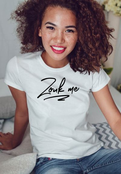 "Woman wearing Zouk T-shirt decorated with unique ""Zouk me"" design (white crew neck style)"