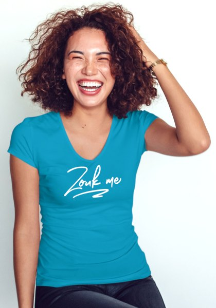 """Woman wearing Zouk T-shirt decorated with unique """"Zouk me"""" design (blue v-neck style)"""