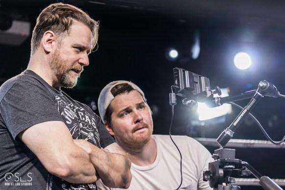 Director Chris Grega (left) and cinematographer Ben Vogelsgang review a shot.