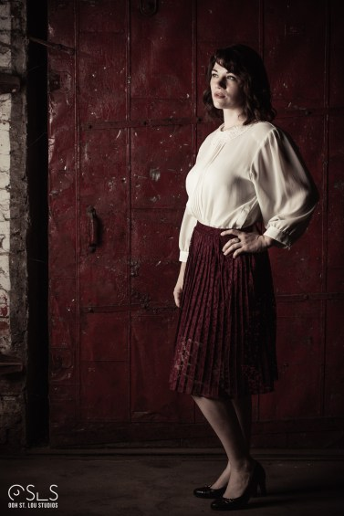 Actress Ashley Bauman plays femme fatale Violet - on set in Sauget, Ill.