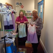 dresses made by the Dorcus Club to be taken to Nicaragua