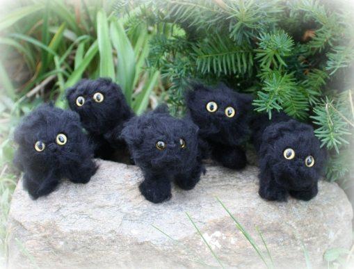 Black Kitties | Little Oombawkas | Mini Meow CAL | OombawkaDesign