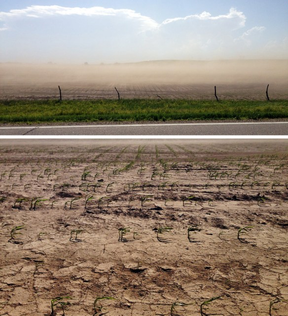 Soil erosion spotted in northern Kansas, the fist time I have seen a field here that looks like it has been ploughed and power harrowed