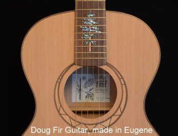 Face of Doug Fir Guitar, built by luthier in Eugene, over 1 month, retail over $2600