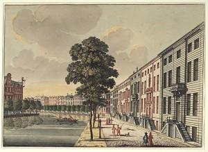 De Gouden Bocht van de Herengracht, kleurenprent door Jan van Call. Bron: Stadsarchief Amsterdam